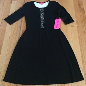 Betsey Johnson black dress with lace detail sz XS